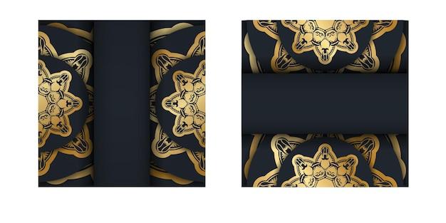 Powitanie ulotka w kolorze czarnym z rocznika złotym ornamentem za gratulacje.