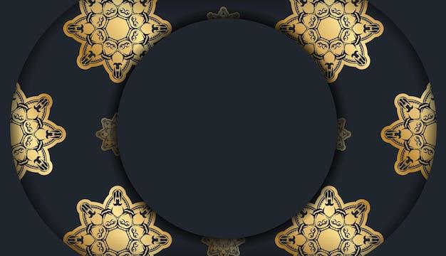 Powitanie ulotka w kolorze czarnym z rocznika złotym wzorem za gratulacje.