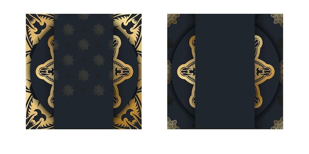 Powitanie ulotki w kolorze czarnym z rocznika złotym wzorem przygotowanym do typografii.