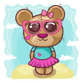 Powitanie urodzinowa karta z ślicznym niedźwiedziem - ilustracja