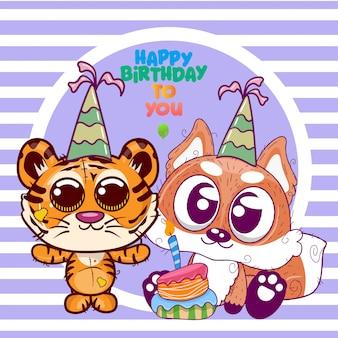 Powitanie urodzinowa karta z ślicznym tygrysem i lisem - ilustracja