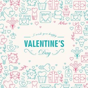 Powitanie walentynki dekoracyjna karta z życzeniami szczęśliwego i wielu ikon, takich jak serce, gałązka, ilustracja wektorowa koperty