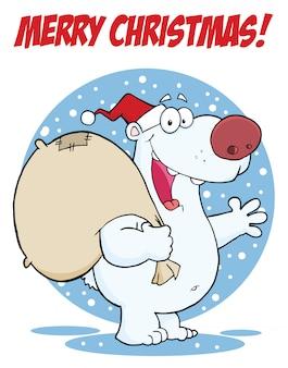 Powitanie wesołych świąt z niedźwiedzia polarnego santa