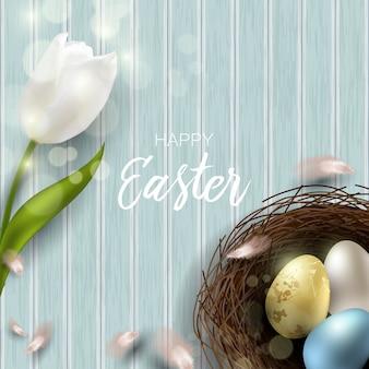 Powitanie wielkanocny tło z realistycznymi wielkanocnymi jajkami i kurczaków piórkami. widok z góry z miejsca na kopię.