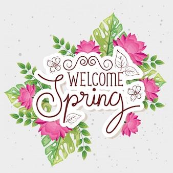 Powitanie wiosny z dekoracją kwiatów i liści