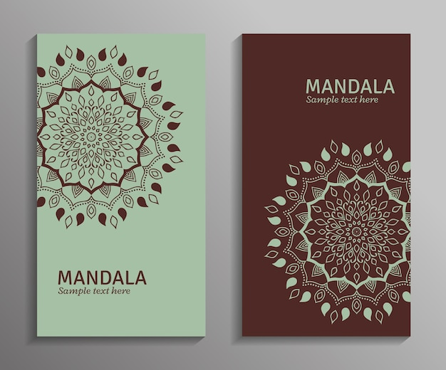 Powitanie, zaproszenie, ulotka w jasnozielonych i brązowych kolorach z ornamentem mandali. ozdobna mandala. stylowy wzór geometryczny w stylu orientalnym. motyw arabski, indyjski, pakistan, azjatycki.