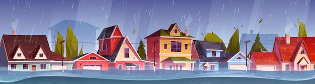 Powódź w mieście, przepływ wody rzeki na ulicy miasta z domkami. klęska żywiołowa z deszczem i burzą na terenach wiejskich z zalanymi budynkami, zmiana klimatu. ilustracja kreskówka wektor
