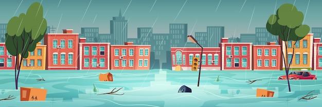 Powódź w mieście, rzece, strumieniu wody na ulicy miasta