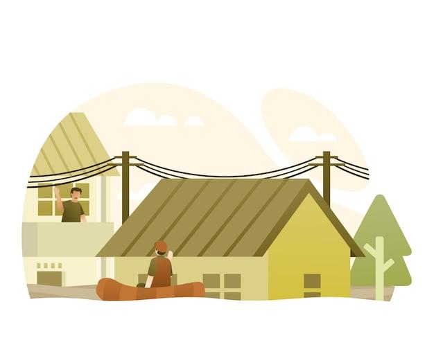 Powódź w środku miasta ilustracja