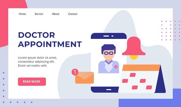 Powołanie lekarza na ekran smartfona, harmonogram, kalendarz, przypomnienie, kampania powiadomień e-mail dla strony głównej strony głównej witryny internetowej