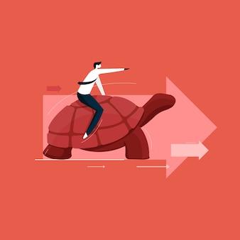 Powolna i bezpieczna koncepcja ruchu, biznesmen idzie do przodu z prędkością żółwia, myśl inaczej