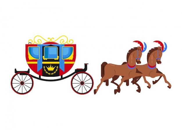 Powóz trener wektor rocznika transportu ze starych kół i transportu antyczne