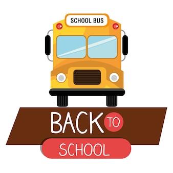 Powrót do autobusu szkolnego żółty projekt na białym tle