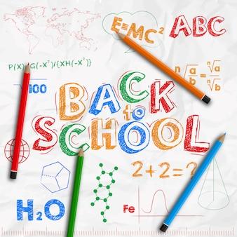 Powrót do baneru szkolnego. zmięty biały prześcieradło papier z rysunkami z barwionymi ołówkami.