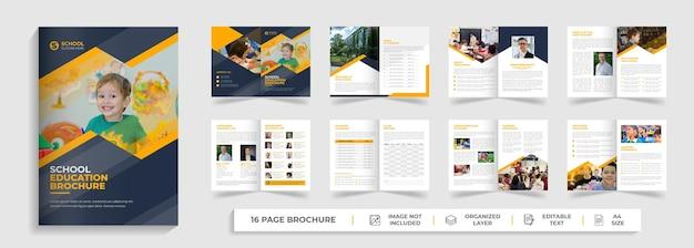 Powrót do edukacji szkolnej kreatywny nowoczesny szablon broszury bifold