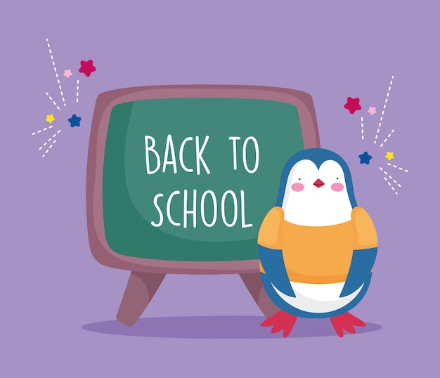 Powrót do edukacji szkolnej pingwina z tablicy