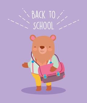 Powrót do edukacji szkolnej słodki miś z torbą i ubraniami