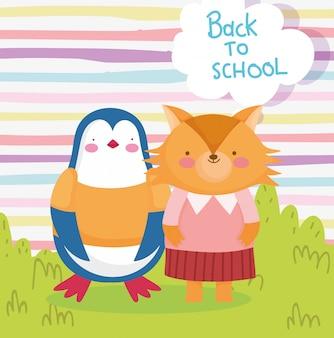 Powrót do edukacji szkolnej słodki pingwin i lis kreskówka