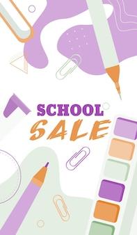 Powrót do koncepcji banerów sprzedaży szkolnej w pastelowym stylu płaski