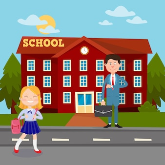 Powrót do koncepcji edukacji szkolnej z nauczycielem i uczennicą.