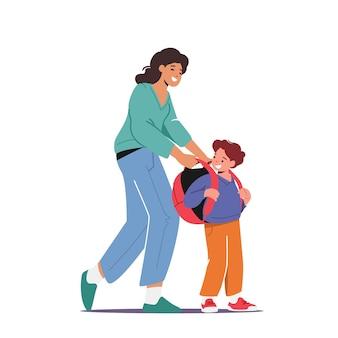 Powrót do koncepcji szkoły, edukacji i przygotowania do nauki. postać matki na plecaku na uczniaku przygotuj się na lekcję. chłopiec uczeń gotowy do edukacji. ilustracja wektorowa kreskówka ludzie