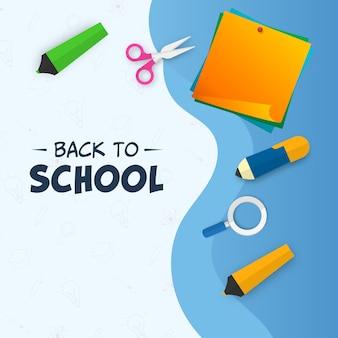 Powrót do koncepcji szkoły z widokiem z góry dostaw elementów na niebieskim tle.