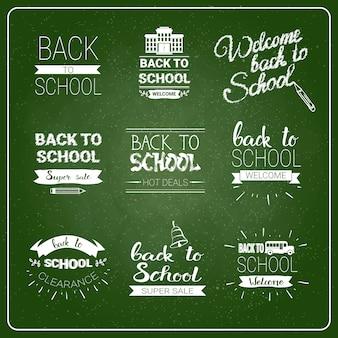 Powrót do logo szkoły ustaw kolekcję etykiet chalked