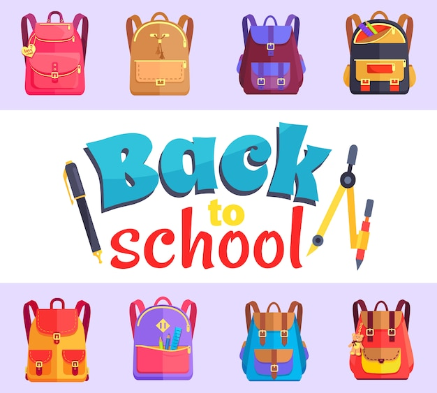 Powrót do mojej szkoły naklejka w stylu kreskówki z torbami