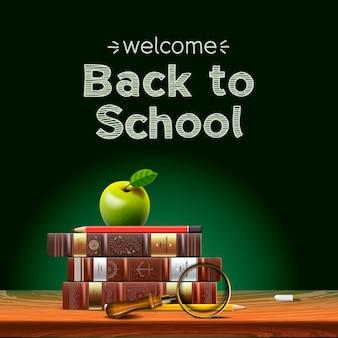 Powrót do podręczników szkolnych z jabłkiem na ilustracji wektorowych na biurku