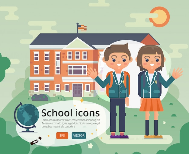 Powrót do projektu okładki szkolnej z nastolatką w mundurze.