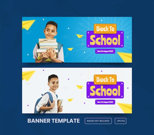 Powrót do promocji szkolnej na szablon transparentu wektor premium