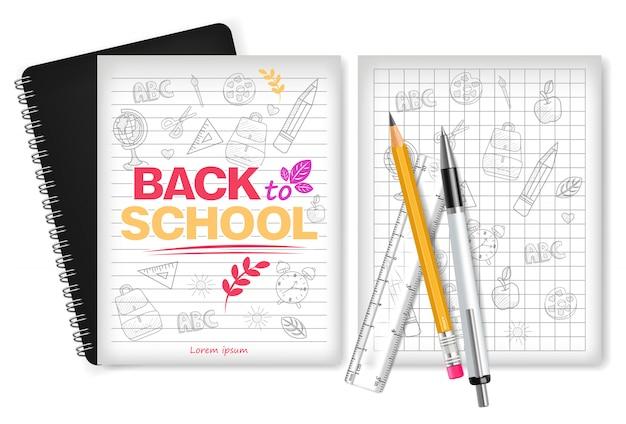 Powrót do przyborów szkolnych i książki z notatkami
