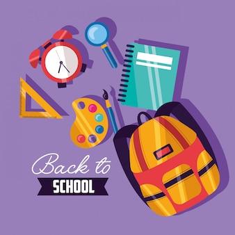 Powrót do przyborów szkolnych w stylu płaskiej