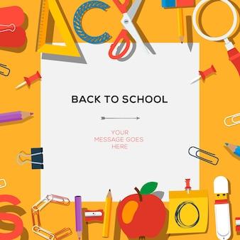 Powrót do sezonu szkolnego szablon sprzedaży ze szkołami dostarcza ilustracji wektorowych