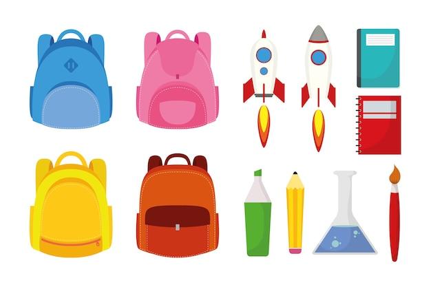 Powrót do sezonu szkolnego z projektowaniem ilustracji wektorowych zestaw dostaw