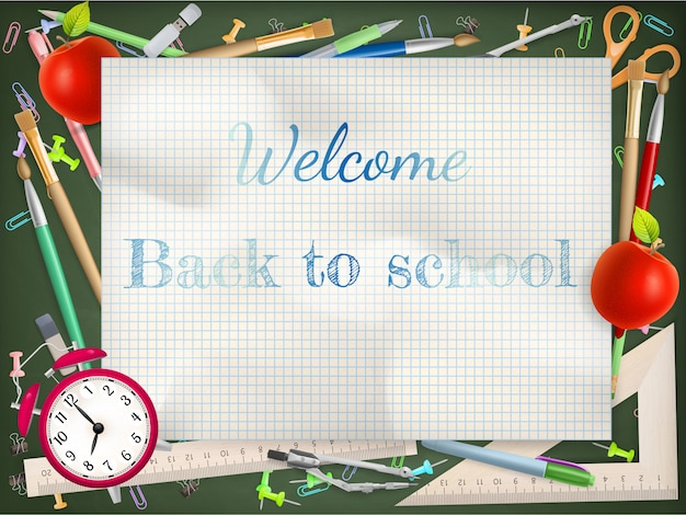Powrót do sezonu szkolnego z przyborami szkolnymi.