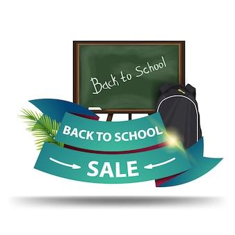 Powrót do sprzedaży szkolnej, baner internetowy ze zniżkami w formie wstążek dla twojej firmy z radą szkolną