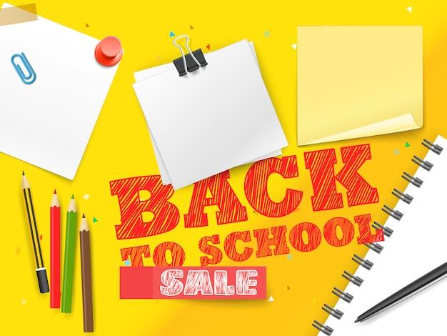 Powrót do sprzedaży szkolnej. banner wektor napis