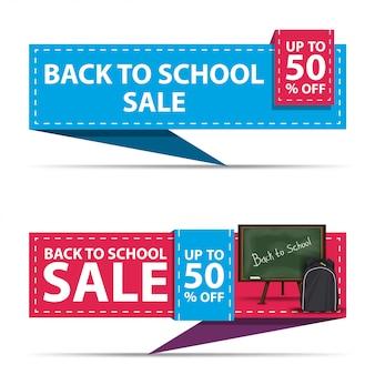 Powrót do sprzedaży szkolnej, dwa poziome bannery rabatowe w formie wstążki