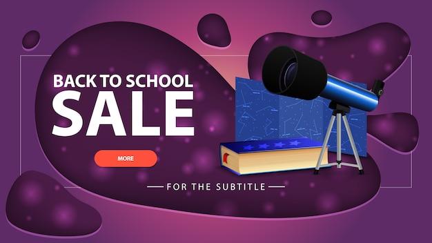 Powrót do sprzedaży szkolnej, różowy baner rabatowy z nowoczesnym designem na swojej stronie internetowej z teleskopem