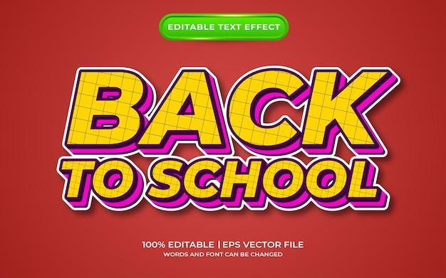 Powrót do stylu szablonu efektu tekstowego w szkole