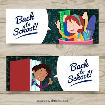 Powrót do szkoły banery z ręcznie rysowane stylu
