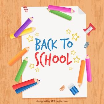 Powrót do szkoły tło z kolorowe kredki