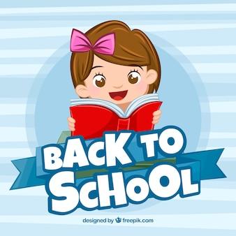 Powrót do szkoły tło z szczęśliwą dziewczyną