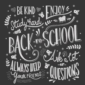 Powrót do szkoły Typografia, rysunek na tablicy