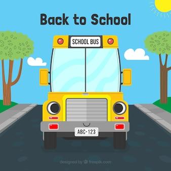 Powrót do szkoły w tle z autobusem