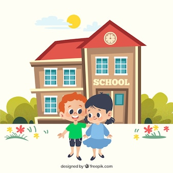 Powrót do szkoły w tle z dziećmi przed budynkiem