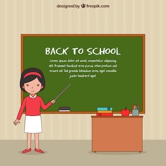 Powrót do szkoły w tle z nauczycielem