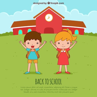 Powrót do szkoły w tle z szczęśliwych dzieci