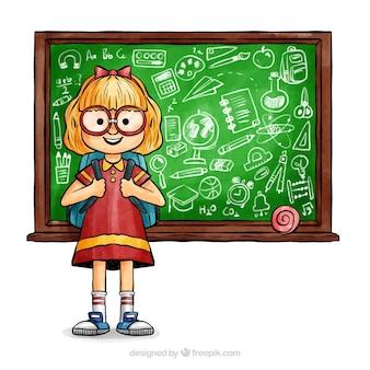 Powrót do szkoły w tle z szczęśliwym dzieckiem